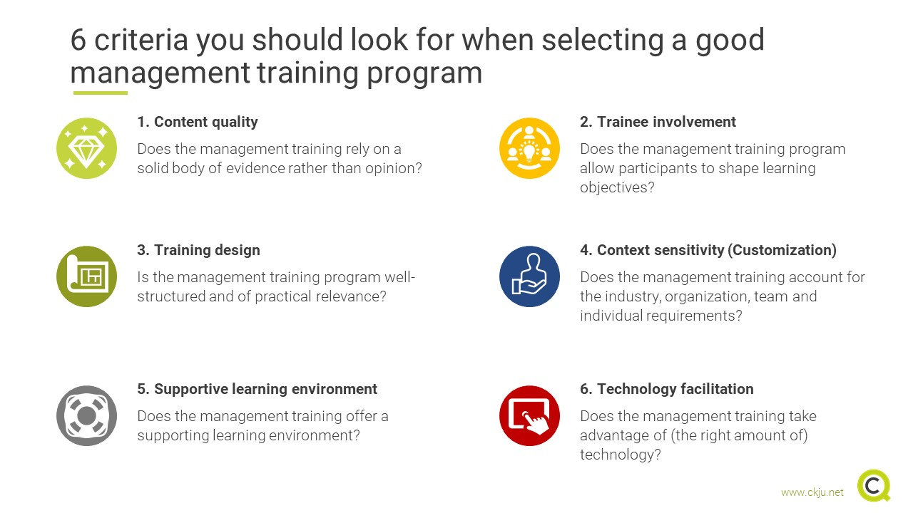 6 criteria you should look for when selecting a good management training program