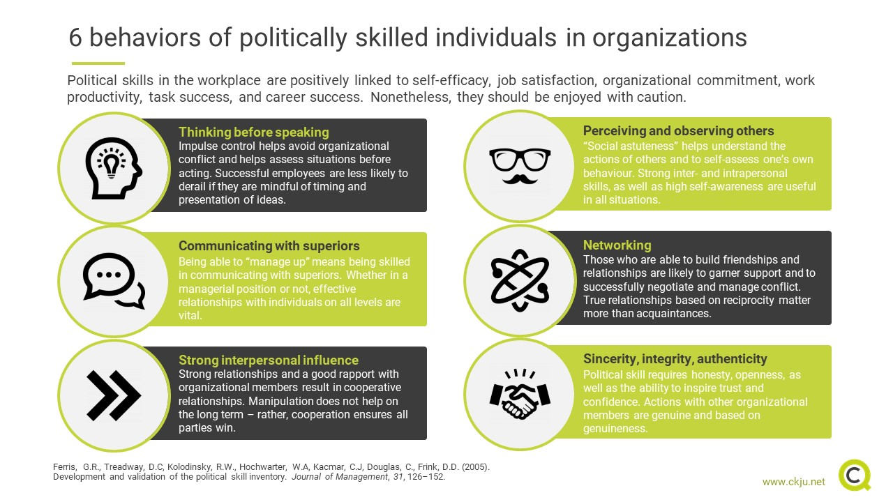 Six behaviors of politically skilled individuals in organizations