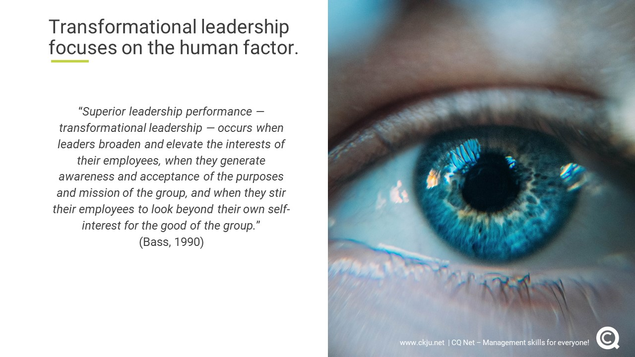 What is transformational leadership? Transformational leadership focuses on the human factor