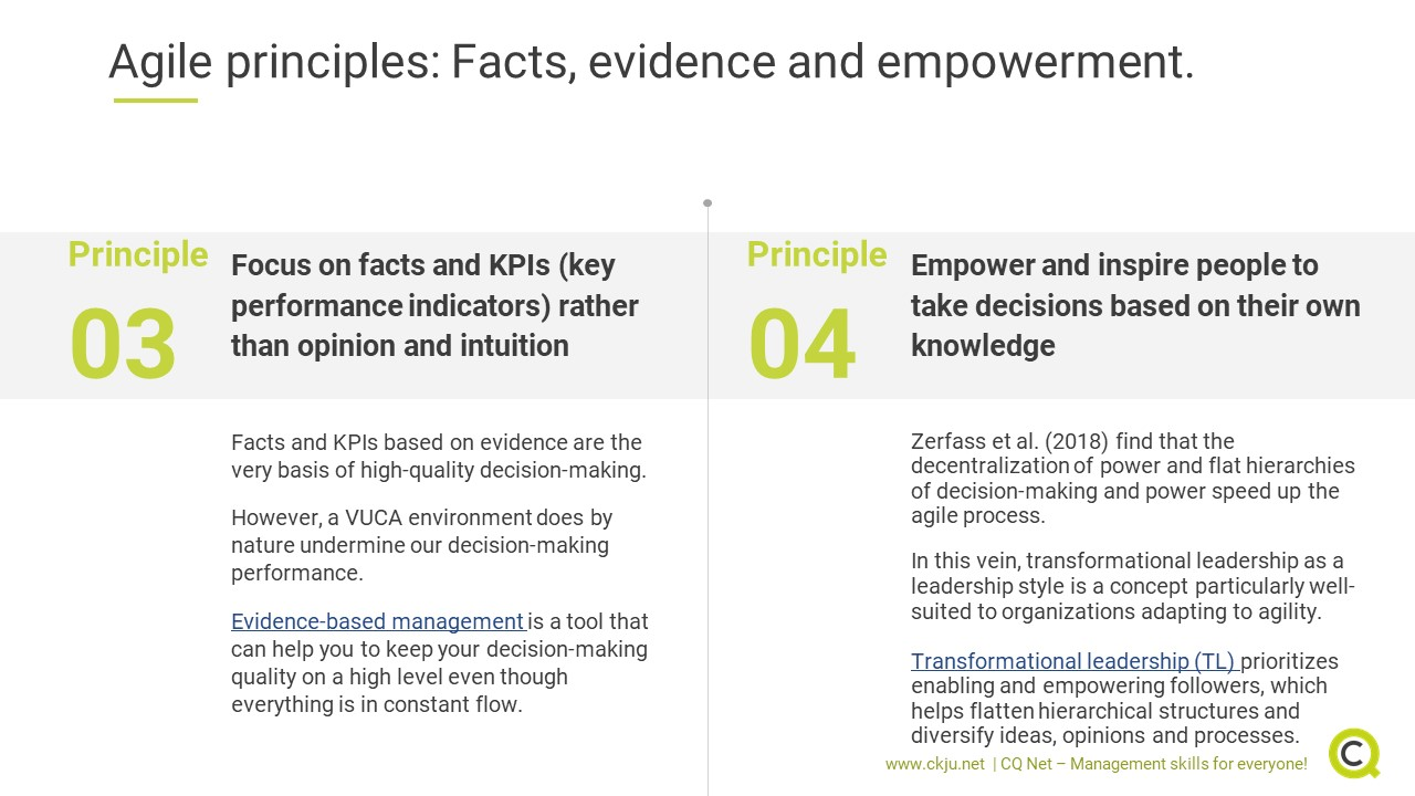 Agile leadership principles 3 and 4: facts, evidence and empowerment