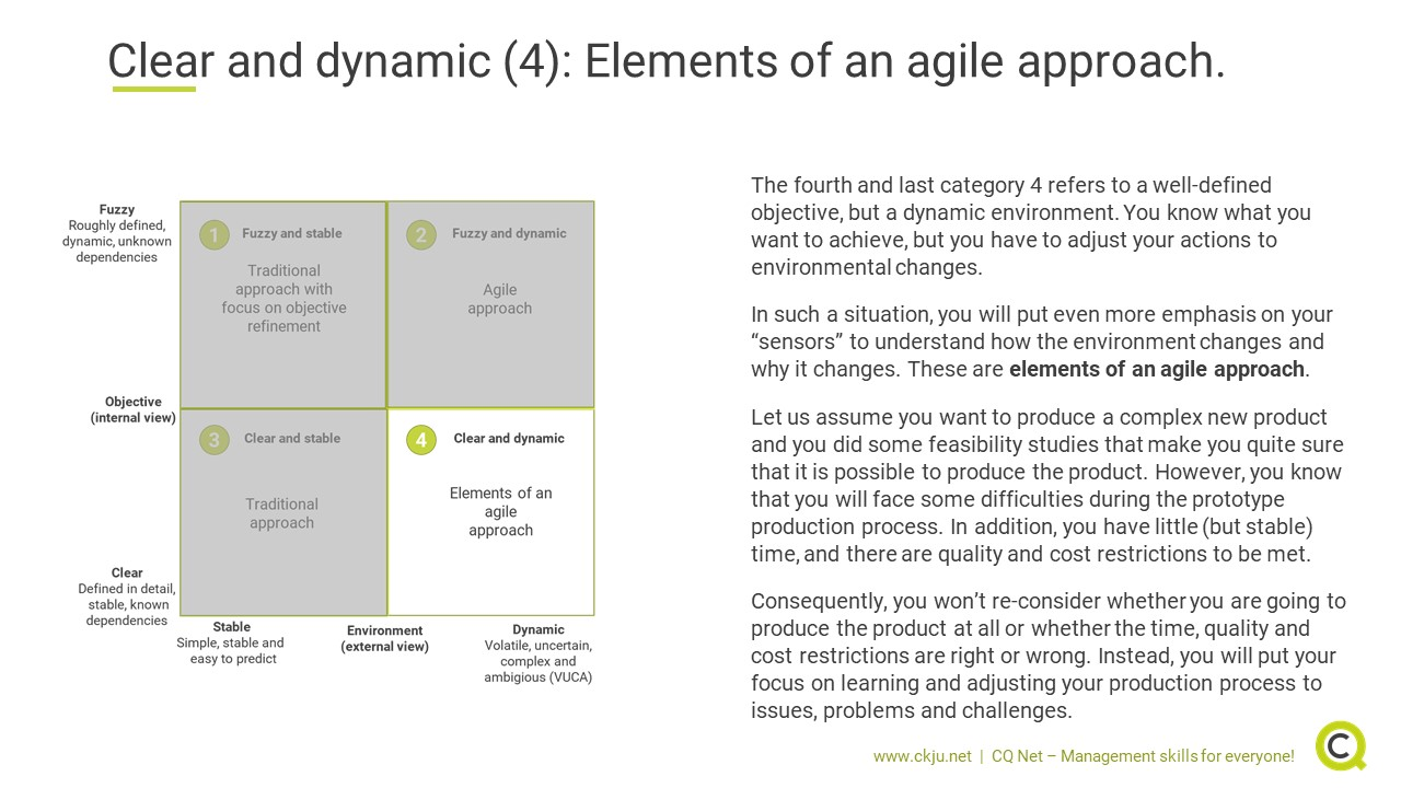 When to apply an agile approach: Elements of an agile approach for clear objectives but a dynamic environment