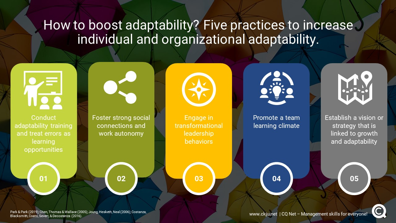 How to boost adaptability? Five practices to increase individual and organizational adaptability.