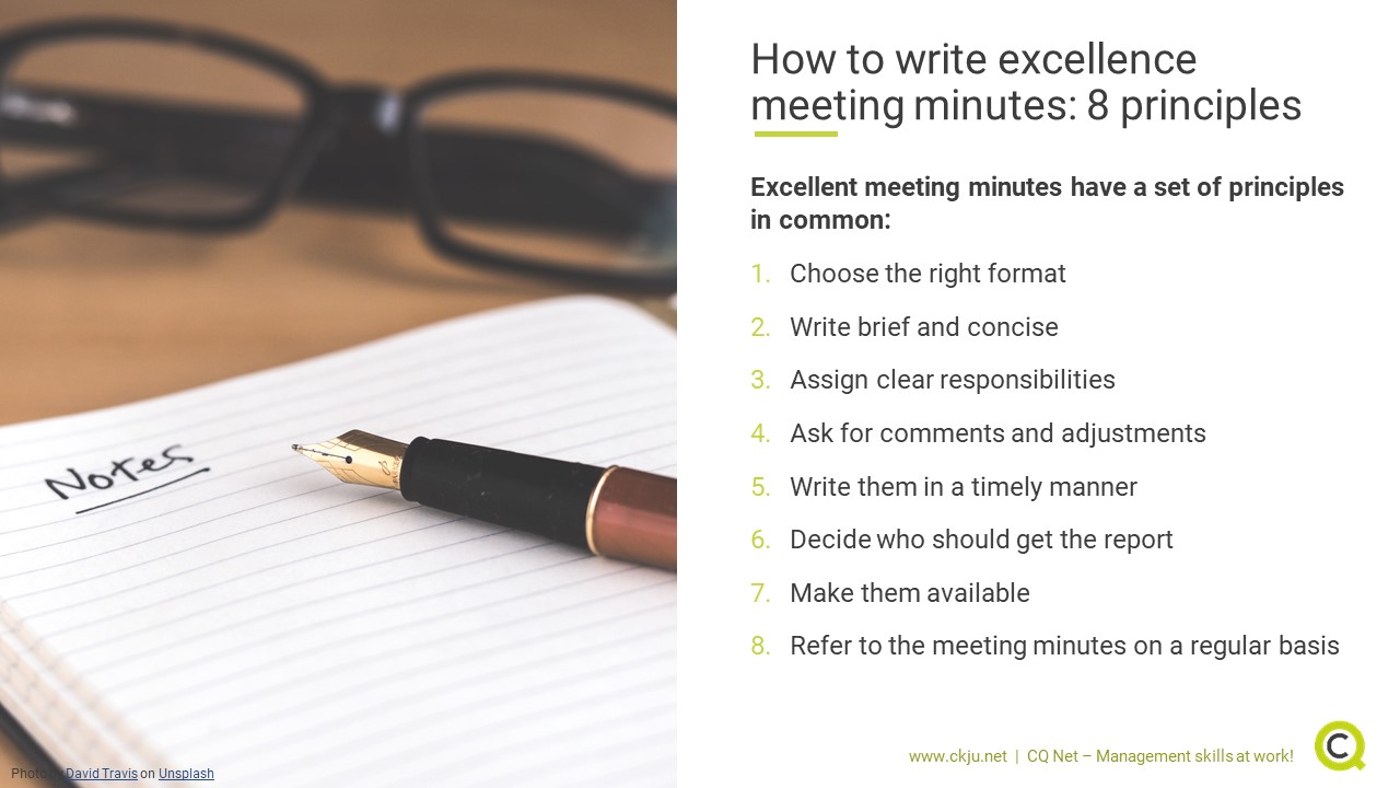 How to write excellence meeting minutes: 8 principles