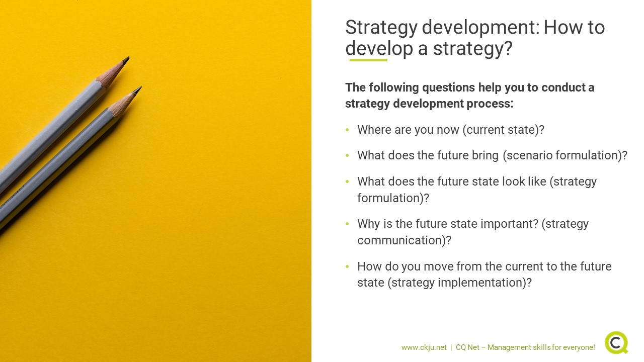 Strategy development: Five key questions that help you to develop a strategy