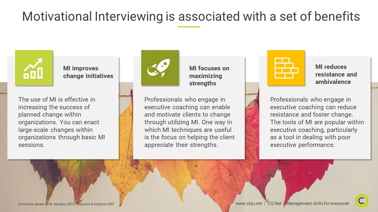 Motivational Interviewing is associated with a set of benefits: Improves change initiatives, maximizes employee strengths, reduces change resistance
