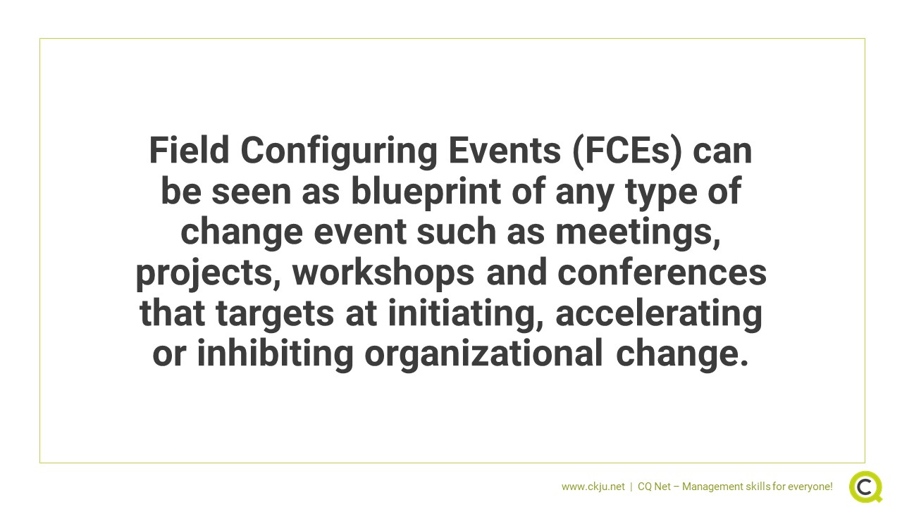 Field Configuring Events (FCEs) are a blueprint of any type of change event