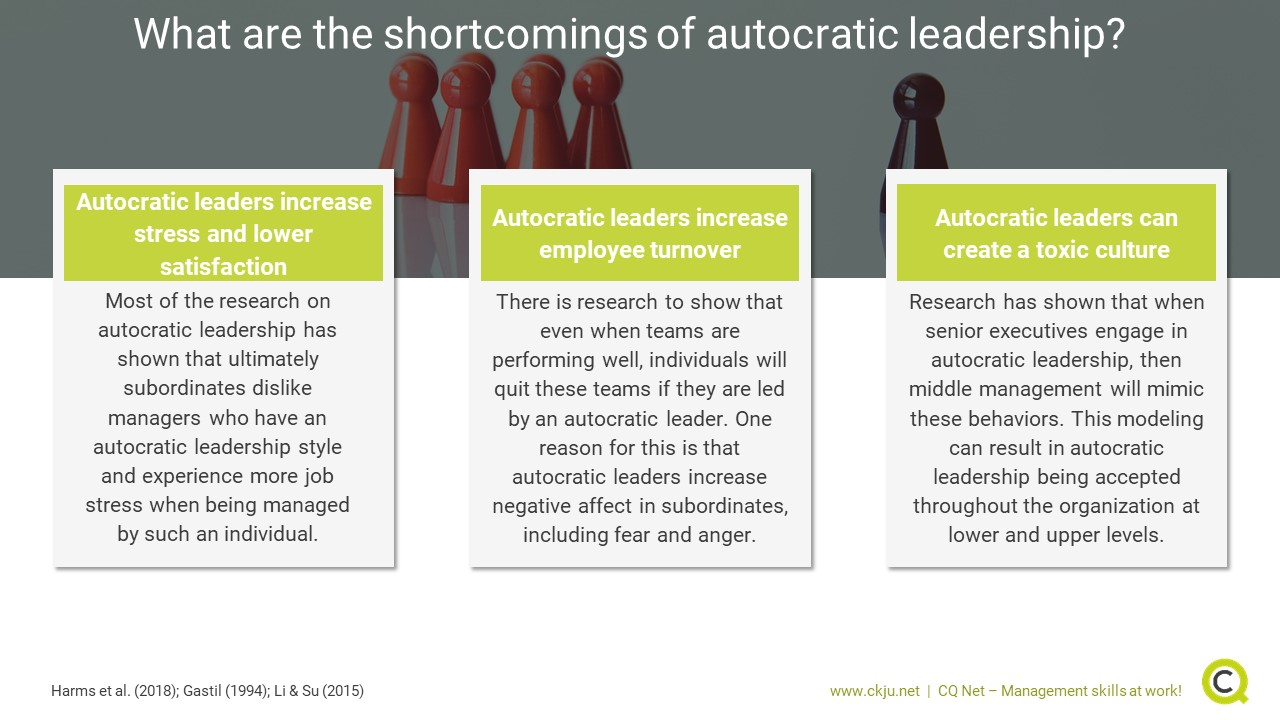 What are the shortcomings of autocratic leadership?