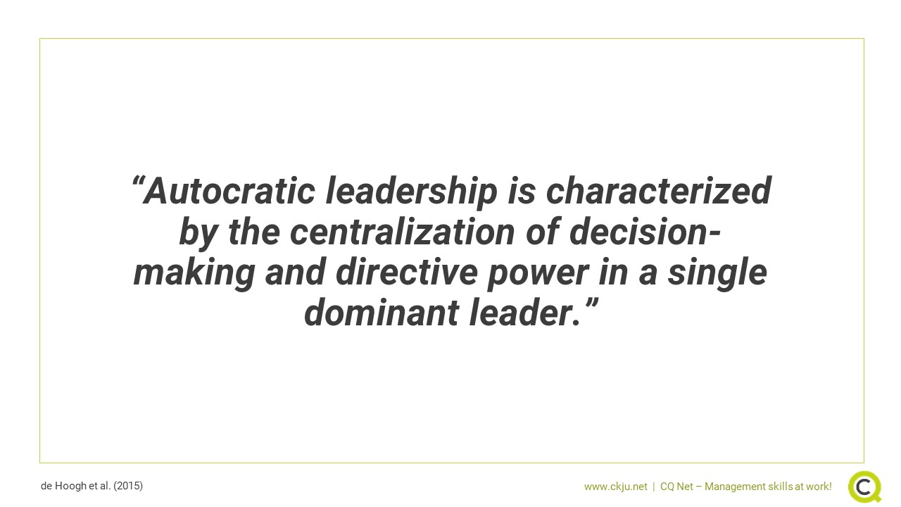 Autocratic leadership is characterized by the centralization of decision-making and directive power in a single dominant leader