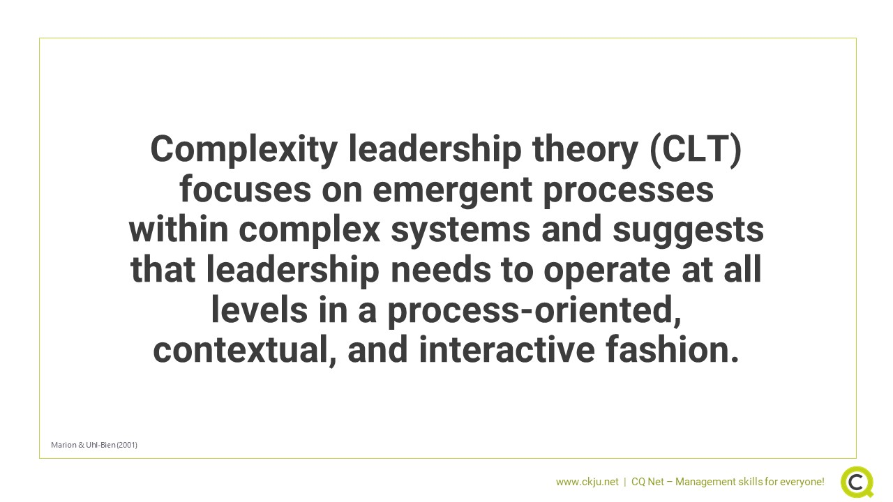 Complexity leadership theory suggests that leadership needs to operate at all levels in a process-oriented, contextual, and interactive fashion.