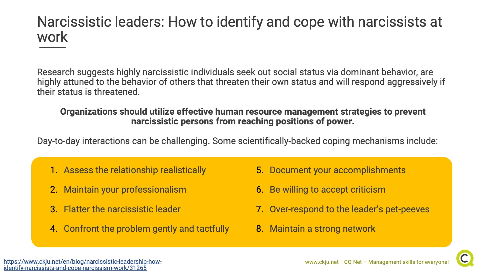How to identify and cope with narcissistic leaders at work