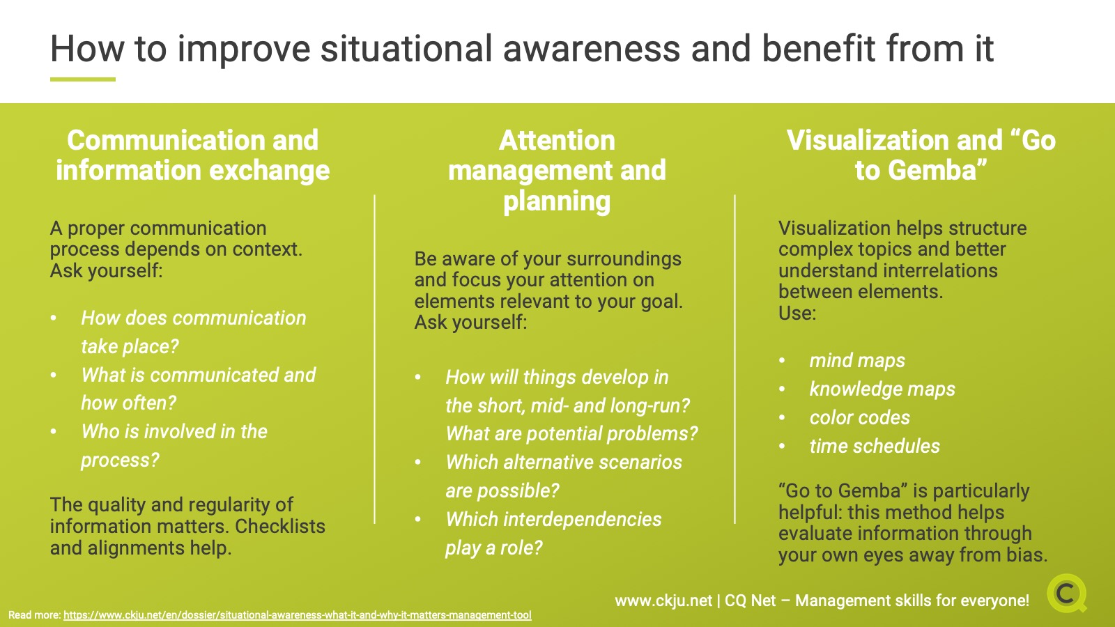 How to improve situational awareness and benefit from it