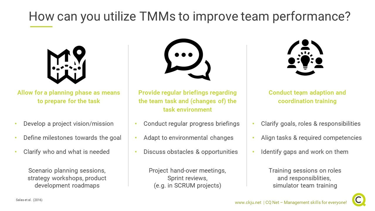 There are various ways how you can utilize TMMs to improve team performance