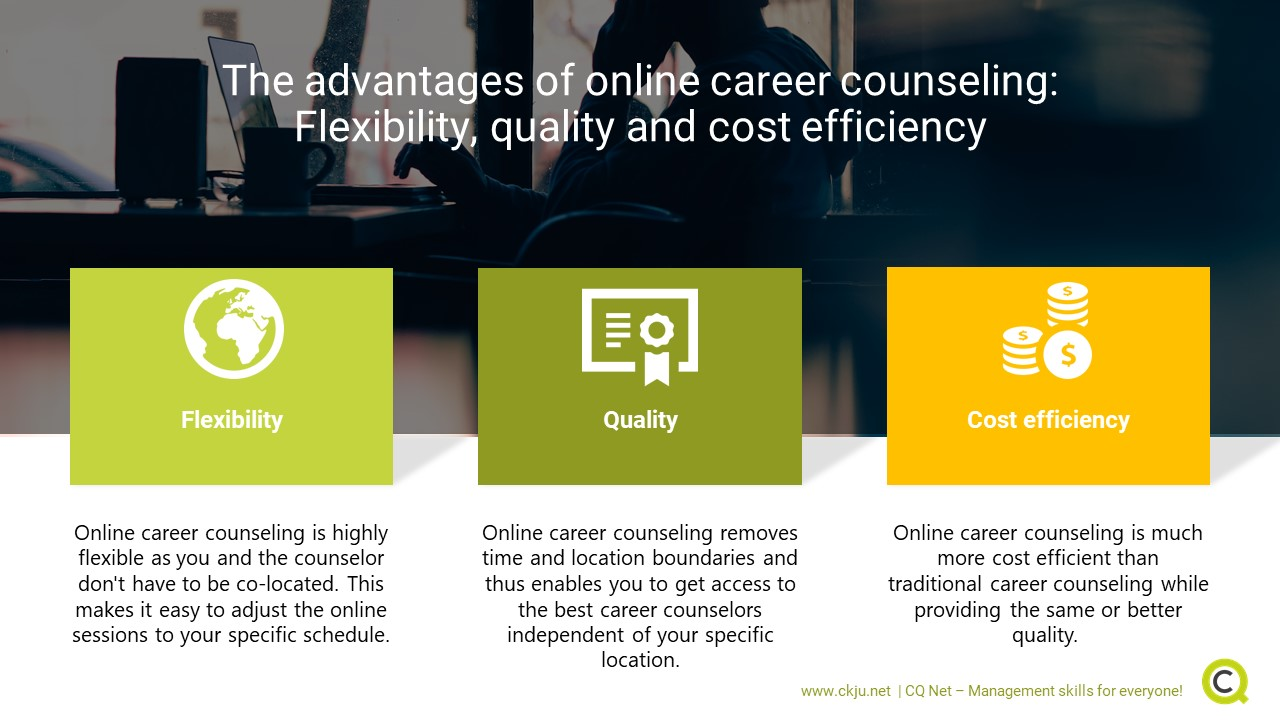 Online career counseling has a set of advantages (flexibility, quality, cost efficiency) compared to traditional career counseling