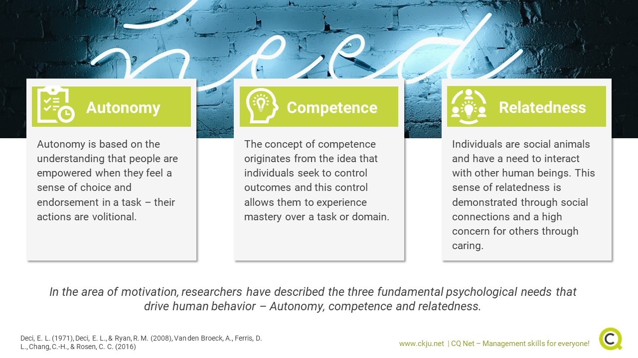 The three basic psychological needs autonomy, competence and relatedness are important in management and beyond