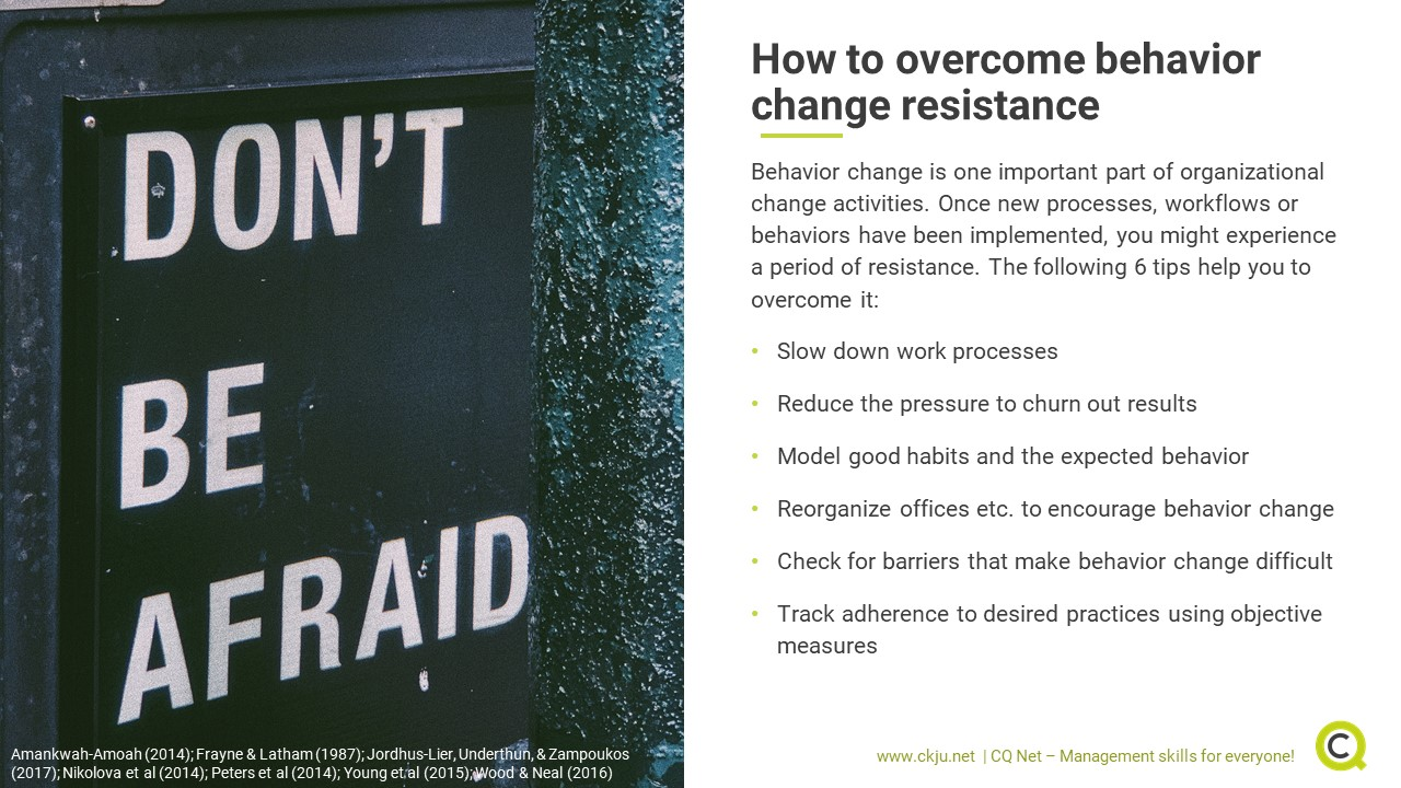 Six tips how to overcome behavior change resistance