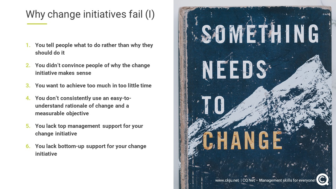 As a professional it is key to be aware of the twelve most important reasons why change initiatives fails