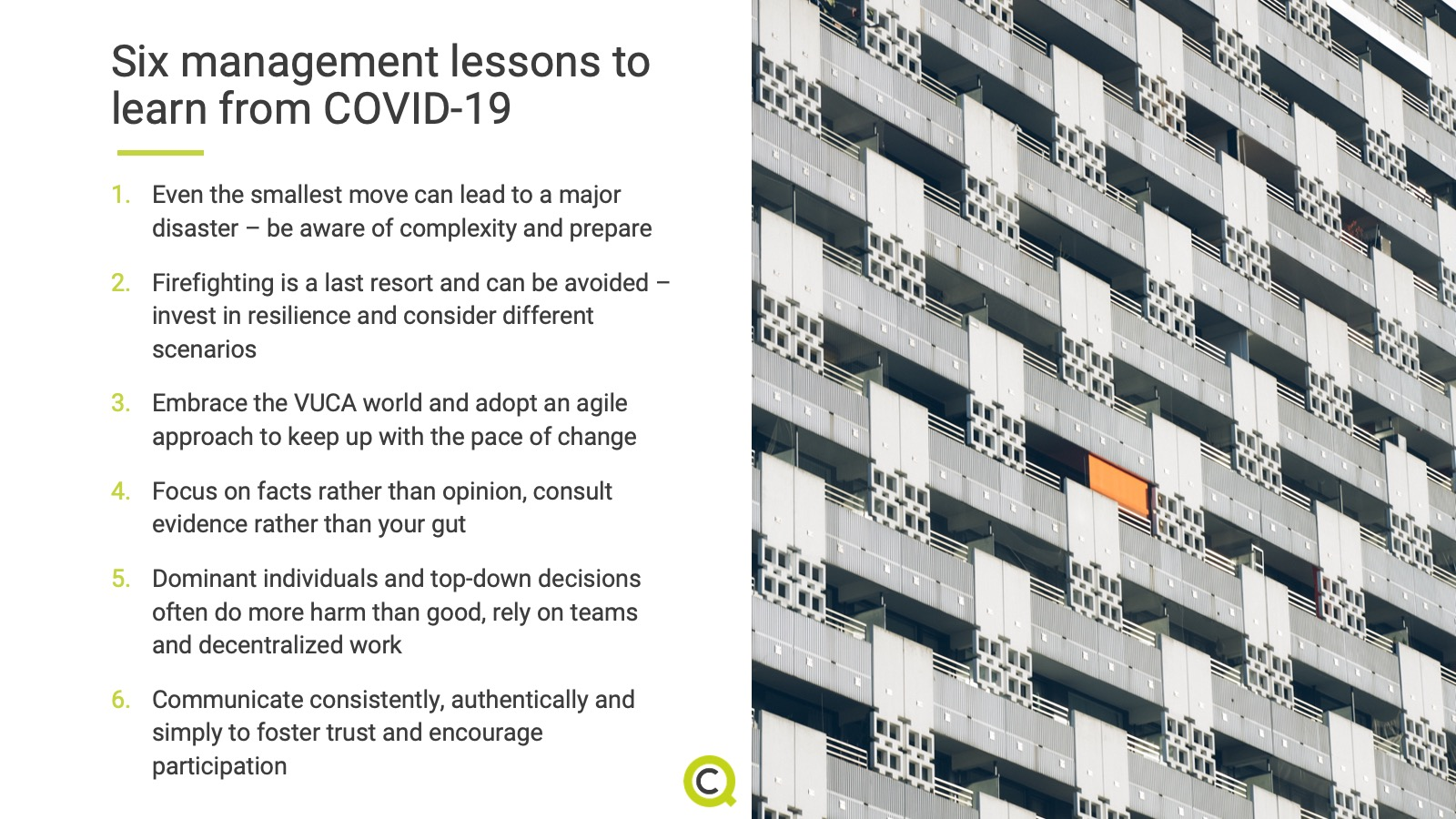Six management lessons to learn from COVID-19