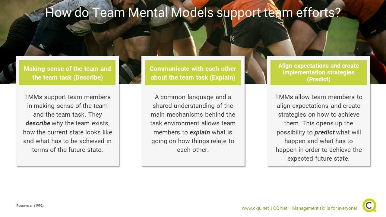 Team Mental Models support team efforts in three different ways